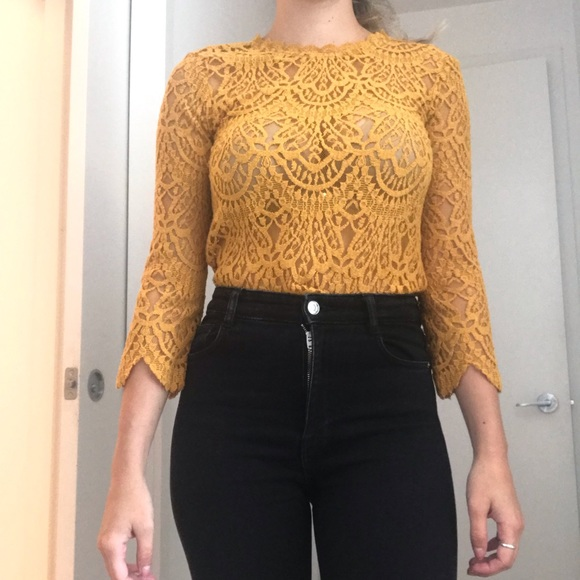 Zara Tops - YELLOW LACE MID-SLEEVED BLOUSE